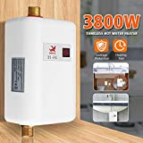Elikliv Mini Water Heater, 3800W Electric Tankless Instant Hot Water Heater Under Sink
