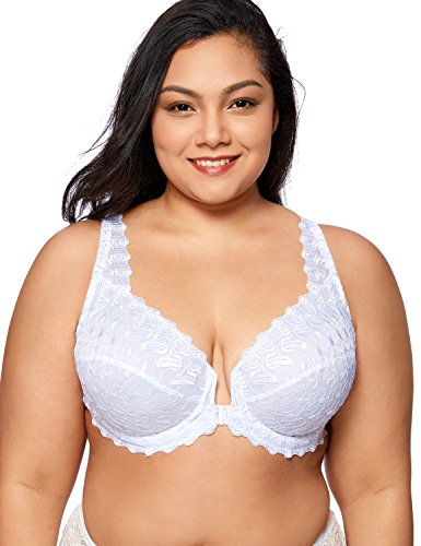 DELIMIRA Women's Plus Size Support Unlined Embroidered Lace Front Close Underwired Bra White 46D
