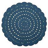Alfombra de algodón Alma efecto crochet azul sólido redondo Ø120 ~ Nattiot