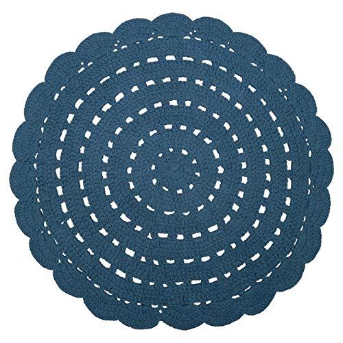 NATTIOT Tapis Alma Coton Effet Crochet uni Bleu Rond Ø120