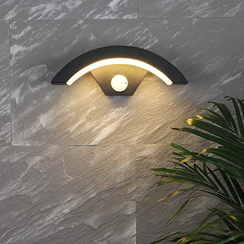 12W Wandlamp met bewegingsmelder wand verlichting IP65 waterdichte outdoor muur steekt binnenwand lamp Zwarte Behuizing Witte lampenkap A ++,Warmweiß 3000k