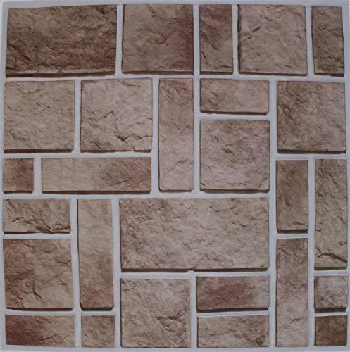 10x 3D Tapete Wandpaneele selbstklebend - Moderne Wandverkleidung in Ziegelstein/Steinoptik - schnelle & leichte Montage (Typ 3)