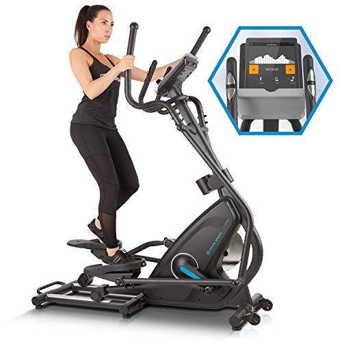 Capital Sports Cross Trainer Helix Star Mr avec Ordinateur d'entraînement - Vélo elliptique, Bluetooth, 32 Niveaux, Volant d'inertie de 21 kg, Pulsomètre, Noir