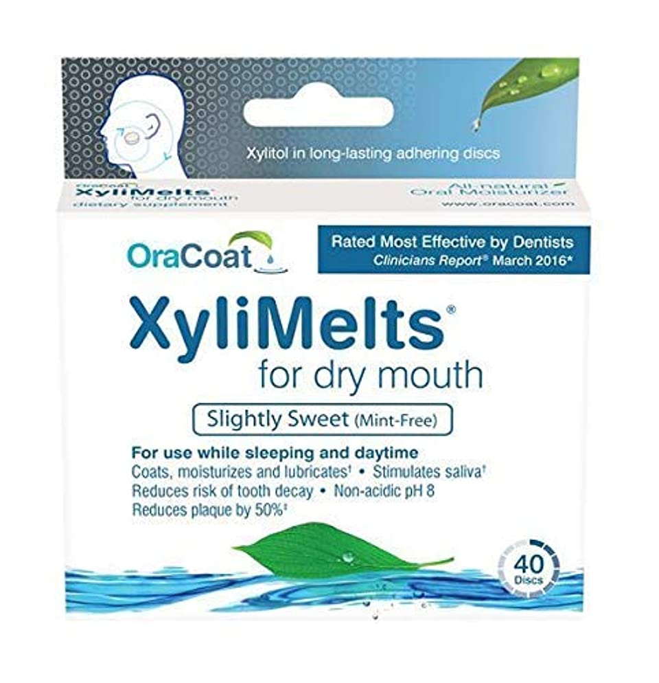 OraCoat, XyliMelts for Dry Mouth Care 160 discs, All Natural, Gluten Free, No Preservatives, Helps Neutralize Acids.