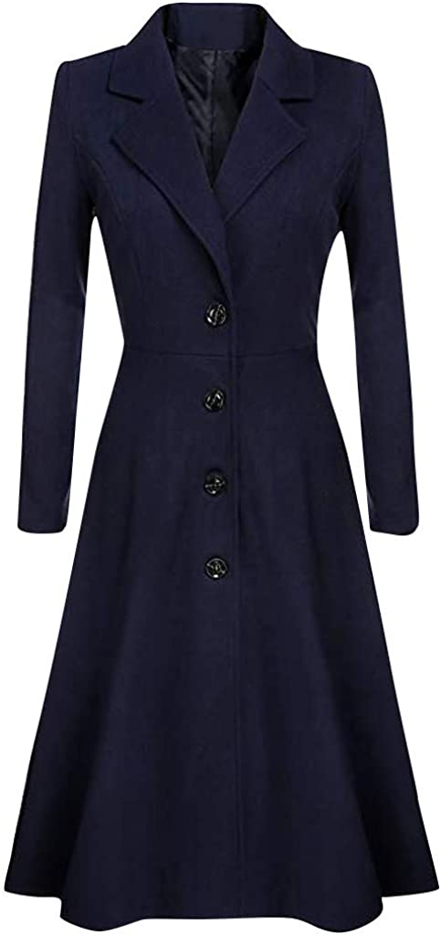 Womens Wool Trench Coats Winter Wool Solid Color Coat Slim Warm Long Cashmere Woolen Overcoat Jackets Outwear