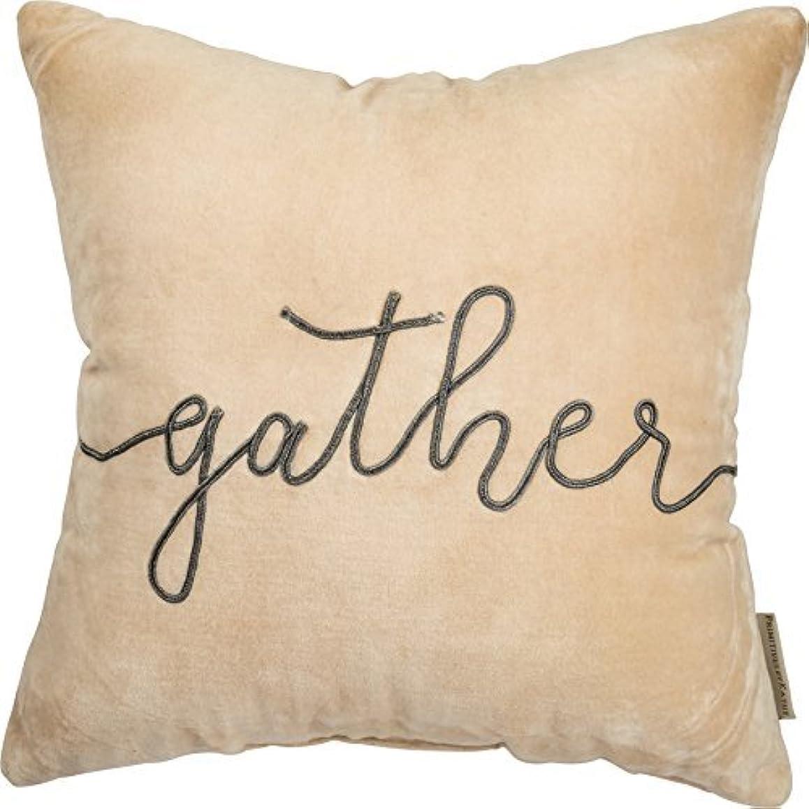 スポークスマン辞任する最小Primitives by Kathy Fall Velvet Pillow - Gather - Cream Gray - 15 inches Square [並行輸入品]