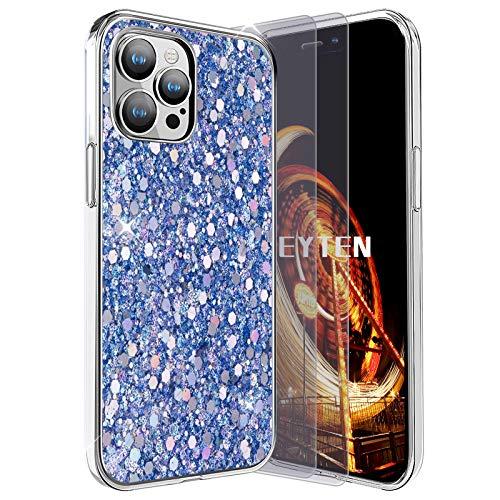 Feyten Funda para iPhone 12/iPhone 12 Pro con 2-Unidades Cristal Vidrio Templado,Purpurina TPU Silicona Suave con Brillante Protección cáscara para iPhone 12/iPhone 12 Pro (6,1 Pulgadas) (Azul)