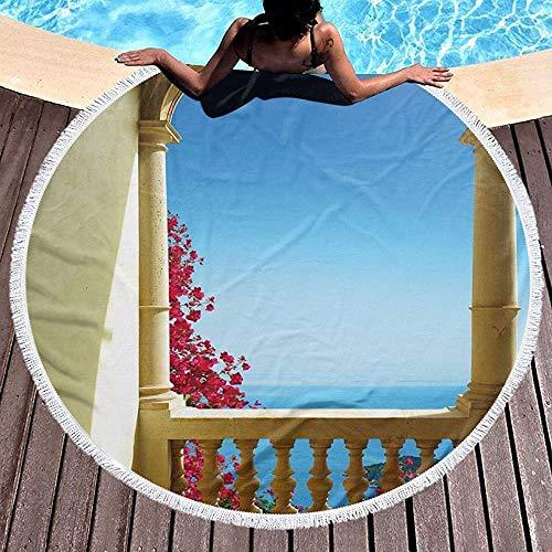 Duanrest Runde Strandtuch Stranddecke, Alter Balkon mit Blick auf das Mittelmeer Bougainvillea Mallorca Kunst, Handtuch Strandmatte 59 '