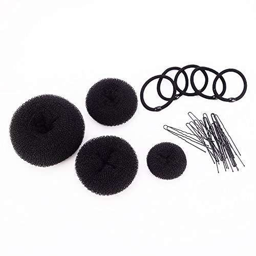 SWACC Hot Hair Donut Bun Maker Set Updo Scrunchie Chignon Hairpiece Ballerina Bun Maker, 4 Sizes + Hair Ties + Bobby Pins in Set (Black)