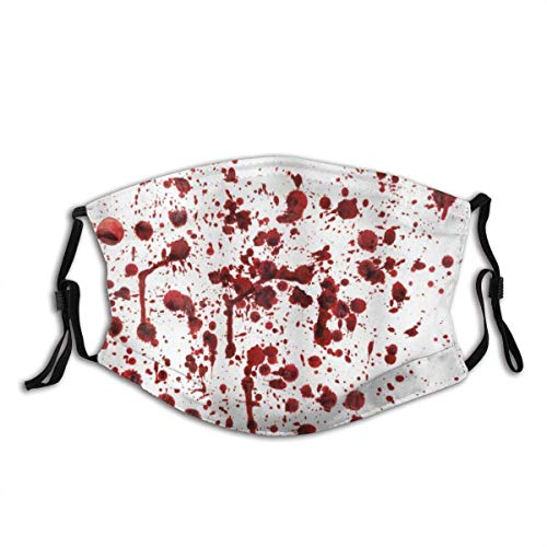 Face Cover Horror Splashes of Blood Grunge Style Bloodstain Horror Scary Zombie Halloween Themed Print Adult Dust Mask Balaclava Unisex Reusable Windproof Face Mask Bandanas with 2 Filters