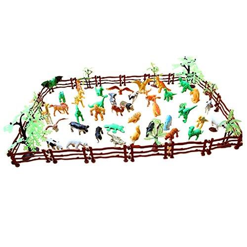 D DOLITY 68 Piezas Estatuilla de Zoo Animal de Plástico de Simulación Juguete de Colección para Niño