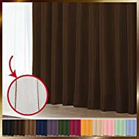 窓美人 1級遮光カーテン&UV・遮像レースカーテン 各1枚 幅150×丈190(188)cm ビターチョコレート+チョコレート 断熱 遮熱 防音 紫外線カット