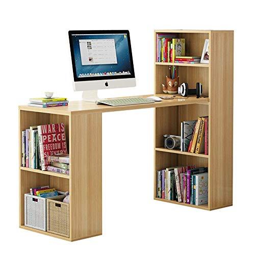 AJH - Mesa de ordenador de madera con estantería de 4 capas