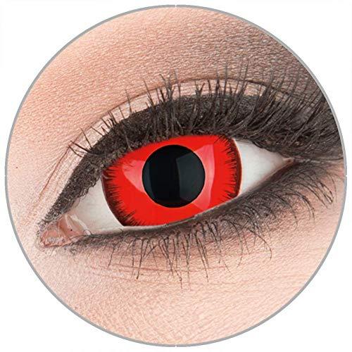 Farbige rote Crazy Fun Mini Sclera 17 mm Kontaktlinsen 1 Paar 'Red lunatic' mit Behälter - Topqualität von 'Evil Lens' zu Fasching Karneval Halloween ohne Stärke