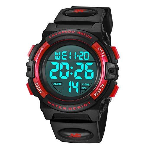 Reloj Niño,Reloj Digital para Niños, Deportivos LED 5ATM Impermeable Alarma Calendario Multifunción Cronógrafo Reloj De Pulsera para Niños Rojo Negro