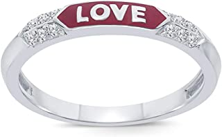 La Joya Round White Diamond Accent Sterling Silver Enamel Eternity Wedding Band Love Hope Strength Stackable Ring for Teens Women's Adults