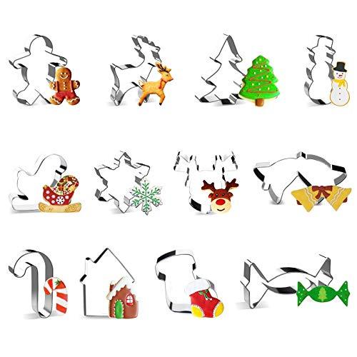 Olkoy Biscotti di Natale in 3D - 12 Pezzi Formine Biscotti in Acciaio Inox, Forma di Renna, Pupazzo di Neve, Albero di Natale, Fiocco di Neve, Omino di Pan di Zenzero, Caramelle ECC (Bianca)