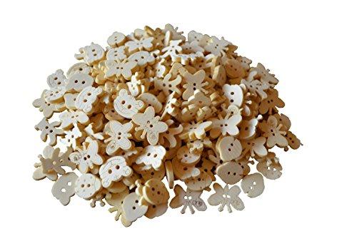 Knöpfe Bottoni da bambini, per decorazione, 100 bottoni in legno in 5 motivi assortiti (farfalla, orsetto, chiocciola, coccinella, gattino)