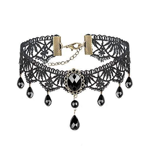 Vordas Welecoco Gothic Necklace Choker, Gótico Encaje Gargantilla Collares para Fiesta Ladies Gothic Choker Necklace Black