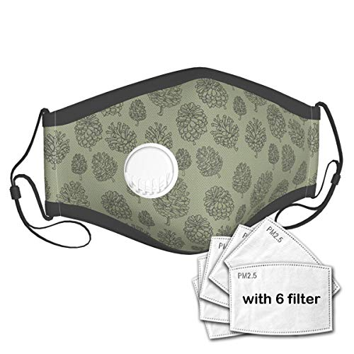 BROWCIN Plants Woodland Conifer Organic Herbal Treatment On Polka Dots Zen Boho Unisex Washable Mouth Sleeve with Filter Anti-Dust Reusable Mouth Guard-Include 6 Filters