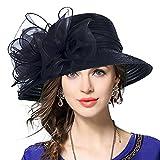 VECRY Señora Oaks Derby Iglesia Vestido Sombrero Bucket Boda Bowler Sombreros (Negro)...