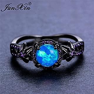 Opal Jewelry Women Blue Fire Opal Star Flower Amethyst Ring Black Gold Wedding Band Size 6-10 (10)