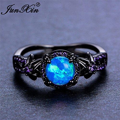 Opal Jewelry Women Blue Fire Opal Star Flower Amethyst Ring Black Gold Wedding Band Size 6-10 (6)