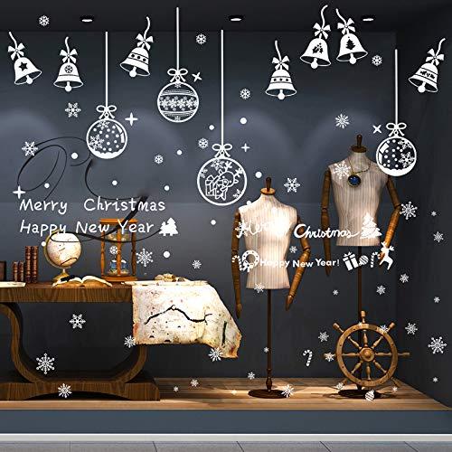 Viilich, 16 fogli di adesivi natalizi per finestre con fiocchi di neve bianchi, adesivi statici e riutilizzabili, decorazioni per feste di Natale, finestre, camino, decorazione per vetrine, 30 x 20 cm