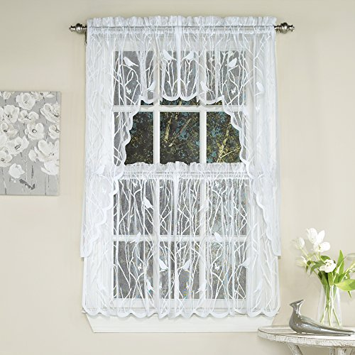 """Sweet Home Collection 5 Pc Kitchen Curtain Set, Swag, Valance, Choice of 24 Songbird White, 36"""" Tier Pair"""