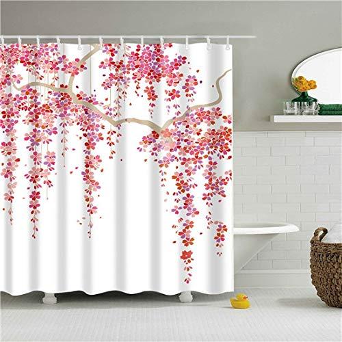 XCBN Tenda da doccia con Motivo a Fiori Rosa Tenda da doccia impermeabile Decorazione per bagno Tenda di separazione asciutta e bagnata A15 180x180cm