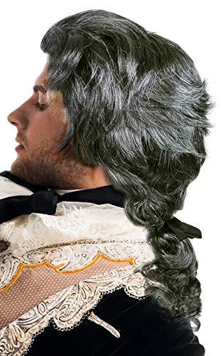 Balinco Barock Perücke grau mit Zopf | Edelmann | Fürst | GRAF | Vampir | Dracula - das perfekte Accessoire für Ihre Verkleidung / Kostüm zum Karneval oder Halloween
