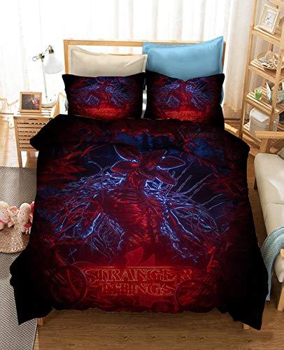 XY&CF Stran-ger Things Bedding Boys Girls, Duvet Cover Kids Cute Printed Quilt Cover Girls Bed Set Cartoon Bedding Children Duvet Cover+1/2 Pillowcas (Color : B, Size : AU-Single 140x210cm)