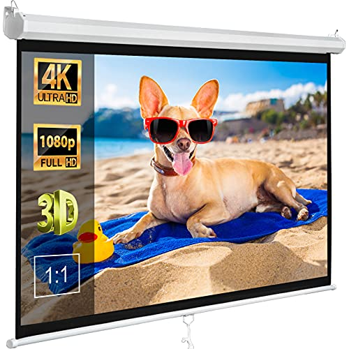 ZENY Projector Screen 120 Inch 1:1 Portable Projection Screen Pull Down Home Theater Movies Screen for 4K 3D Foldable Indoor Outdoor Projector Screen Office Presentation Education Display Screen