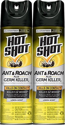 Hot Shot Ant & Roach Plus Germ Killer, Lemon Scent Aerosol, 2/17.5-Ounce