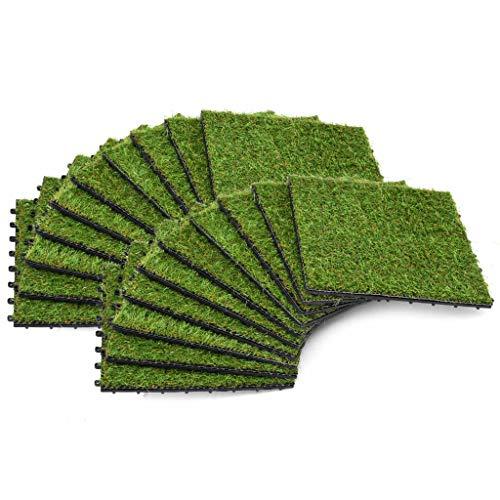 Kunstrasen-Fliesen,Gras Fliesen Rasen synthetische Kunstrasen Matte Rasen Rasen Garten Micro Landschaft Ornament Home Decor Kunstrasen.20 Stk. 30 x 30 cm Grün