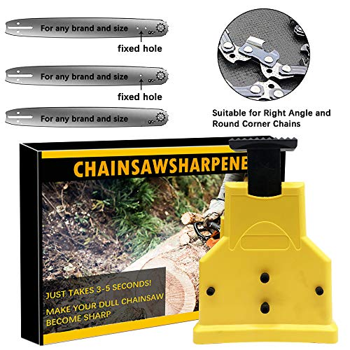 LiL DiHo Chainsaw Sharpener, The Second Generation New Portable Chain Saw Blade Teeth Sharpener Work Sharp Fast-SharpeningStone Grinder Tools Suitable (Yellow)