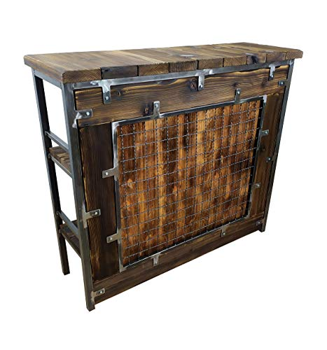 CHYRKA® Bartisch Stehtisch Barhocker Barstuhl BarMöbel SAMBOR Loft Vintage Bar Industrie Design Handmade Holz Metall (THEKE -120 cm)