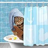 Duschvorhang mit lustigem Katzen-Motiv, Polyester, wasserdicht, gelbe Ente, Ozeanblau, Badezimmervorhang, Heimdekoration, 183 x 183 cm
