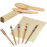 ZFYQ 9 Piezas Kit para Hacer Sushi de Bambú, Herramienta para Hacer Sushi de Bambú...