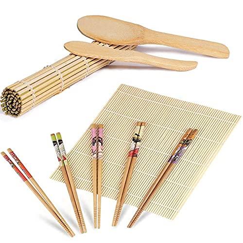ZFYQ Kit per Fare Sushi in bambù, 9 Pezzi, Tappetino per Arrotolare Il Sushi, Include 2 Tappetini in bambù, 5 Paia di Bacchette, 1 Spatola per Riso, 1 Paletta