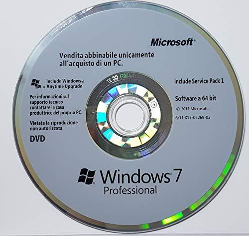 Windows 7 Pro DVD 64 Bit Service Pack 1 - Originale - Utile per Installare Ripristinare o Riparare il Sistema Operativo - NON CONTIENE PRODUCT-KEY : LICENZA DA ACQUISTARE SEPARATAMENTE -