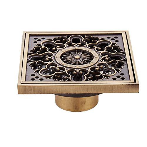 HXCD Bodenablauf Badezimmer Bodenablauf Deodorant Quadratische Küche Badezimmer Bodenablauf 10 cm x 10 cm Bronze Finisher Feste Duschköpfe (Farbe: Gold 2, Größe: 10 x 10 x 4,5 cm)