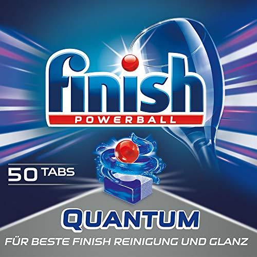 Finish Quantum Spülmaschinentabs, phosphatfrei – Geschirrspültabs mit Power Gel für strahlend sauberes & glänzendes Geschirr – XXL Packung mit 50 Finish Tabs