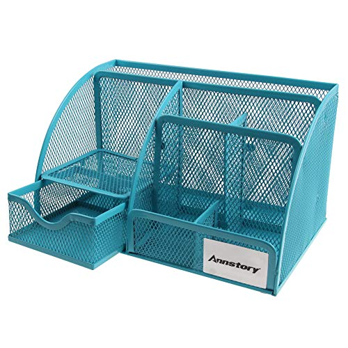Annstory Wire Mesh Desk Organizer with 6 Compartments+ Drawer | The Mesh Collection,Perfect for Office, Students, or Home,Blue