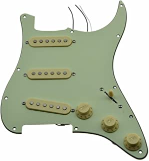 KAISH Loaded Strat SSS Pickguard Prewired ST Strat Pickguard with Ceramic Pickups For Fender Mint Green 3 Ply With Cream Covers and Knobs
