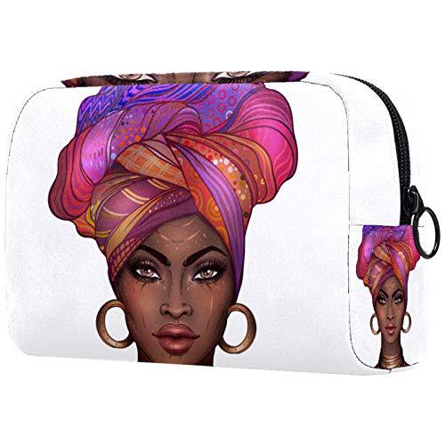Regalo del día de la Madre Bolsa de Maquillaje Bolsa de Viaje para cosméticos Bolsa Monedero Bolso con Cremallera - Chica Guapa afroamericana
