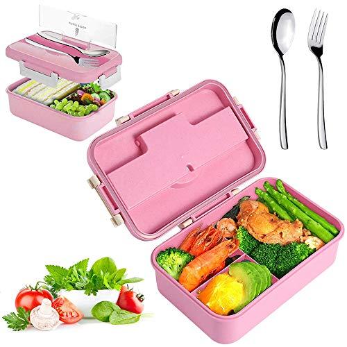 Sunshine smile Caja de Bento con 3 Compartimentos,microondas y lavavajillas Lunch Box,Bento Box para Niños,Fambrera Infantil,Caja de Almuerzo de Plástico,Fiambreras Bento(Rosa 1)