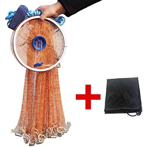 EASY BIG American Fishing Cast Net with Aluminum Frisbee for Bait Trap Fish Dia:7.8ft/9.8ft/11.8ft/13.7ft, 0.8inch Mesh Size (Dia: 7.8FT Brown Braided Fishing Line (Metal Lead))