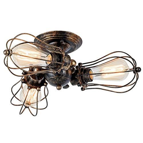 ZRSZ Lámpara De Techo Vintage, Lámpara De Metal Ajustable Loft Industrial 3 Lámparas Lámpara De Techo Steampunk Luces Colgantes Restaurante Bar Teniendo Dormitorio Lámparas De Sala De Estar (Bronce)