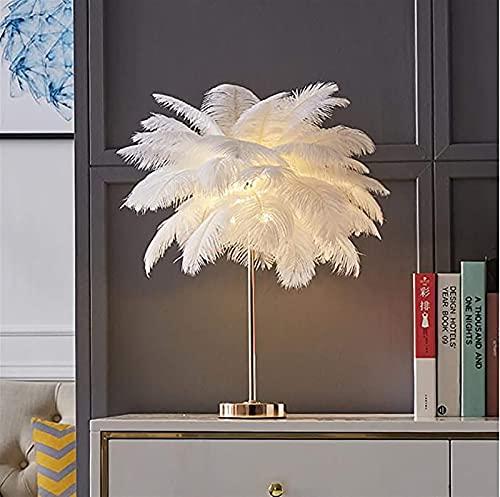 Waqihreu Lámpara de Mesa de Plumas, lámpara de mesita de Noche Moderna, lámpara de Oficina de lámpara de Dormitorio de Princesa romántica, luz de Mesa de Pluma de Avestruz